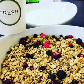 Granola and yogurt from fresh